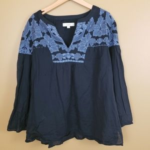 Loft Navy embroidered tunic with bell sleeves